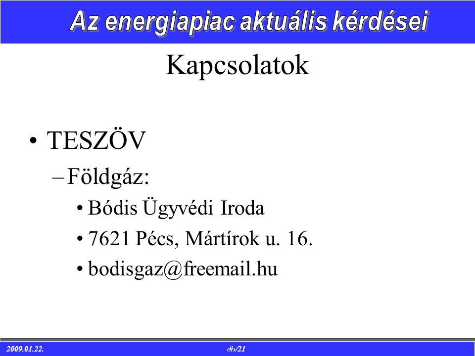 2009.01.22. 20/21 Kapcsolatok •TESZÖV –Földgáz: •Bódis Ügyvédi Iroda •7621 Pécs, Mártírok u.