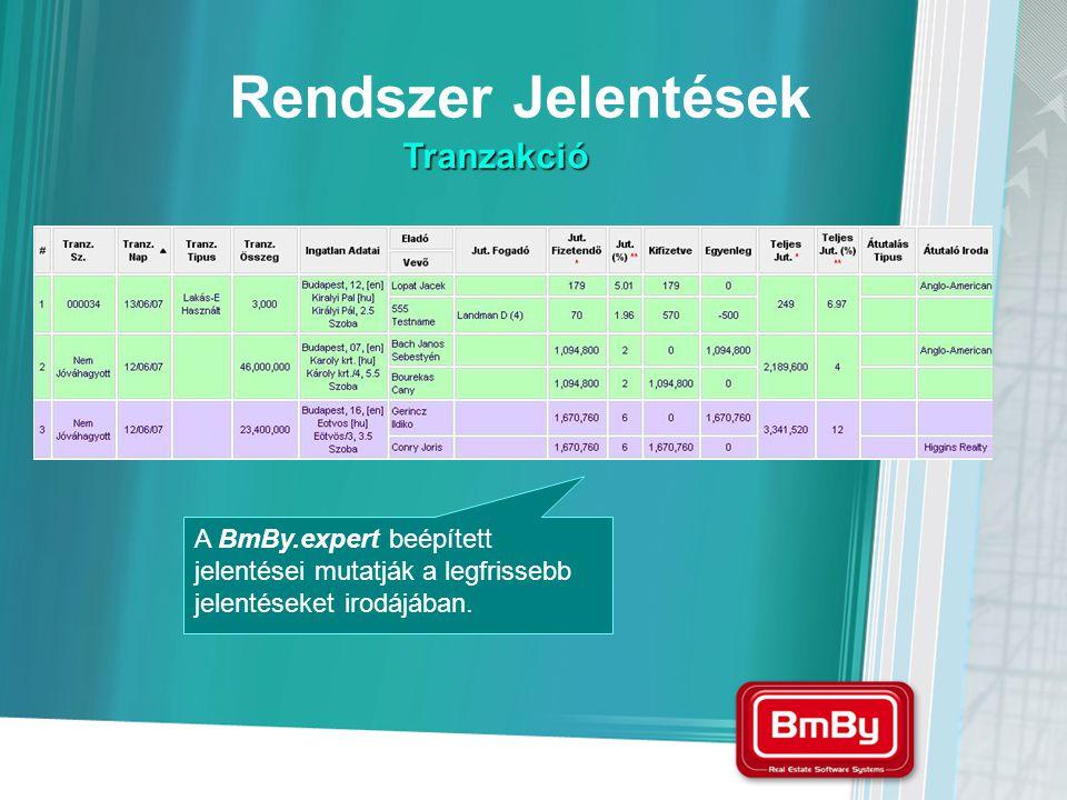 A BmBy.expert beépített jelentései mutatják a legfrissebb jelentéseket irodájában. Rendszer Jelentések Tranzakció