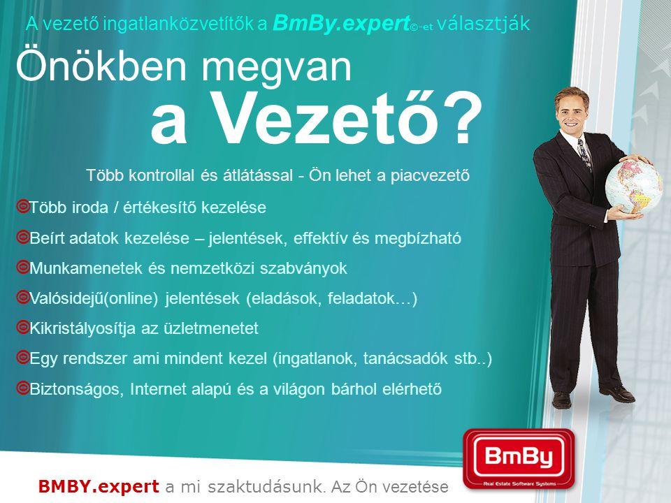 BMBY.expert a mi szaktudásunk. Az Ön vezetése A vezető ingatlanközvetítők a BmBy.expert ©-et választják Önökben megvan a Vezető? Több kontrollal és át