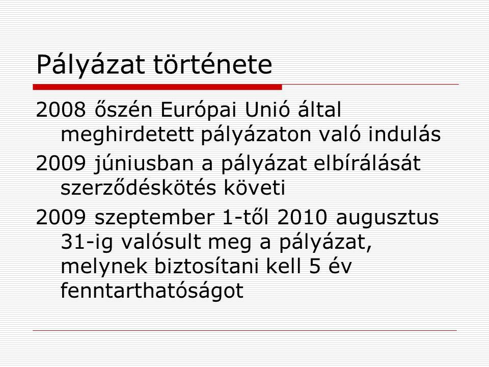 Pályázat története 2008 őszén Európai Unió által meghirdetett pályázaton való indulás 2009 júniusban a pályázat elbírálását szerződéskötés követi 2009