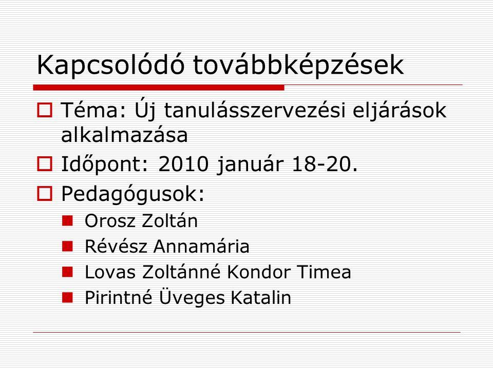Kapcsolódó továbbképzések  Téma: Új tanulásszervezési eljárások alkalmazása  Időpont: 2010 január 18-20.
