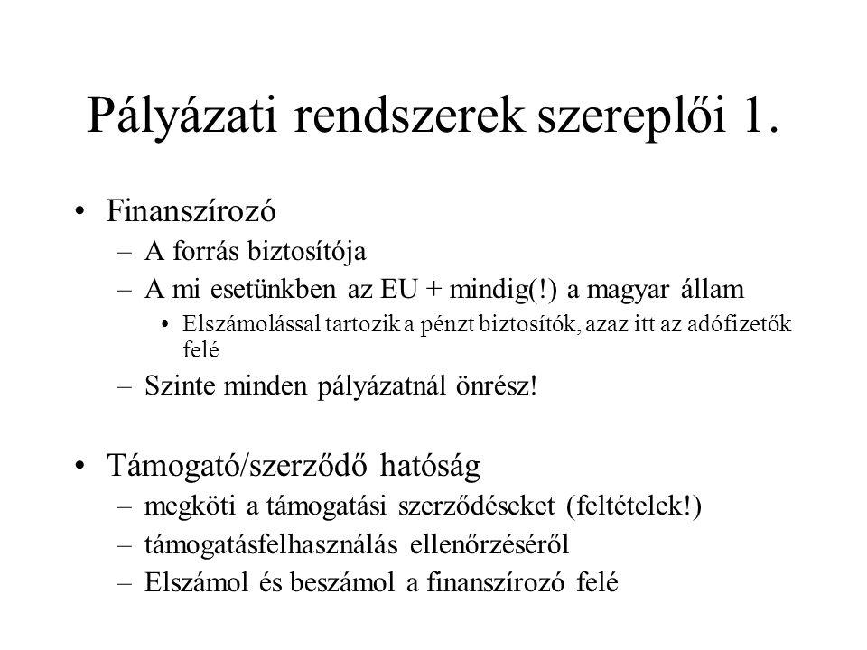 Pályázati rendszerek szereplői 1. •Finanszírozó –A forrás biztosítója –A mi esetünkben az EU + mindig(!) a magyar állam •Elszámolással tartozik a pénz