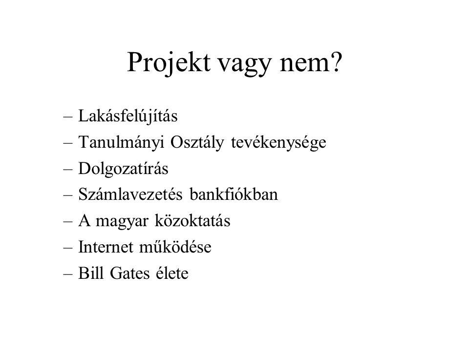 Projekt vagy nem? –Lakásfelújítás –Tanulmányi Osztály tevékenysége –Dolgozatírás –Számlavezetés bankfiókban –A magyar közoktatás –Internet működése –B