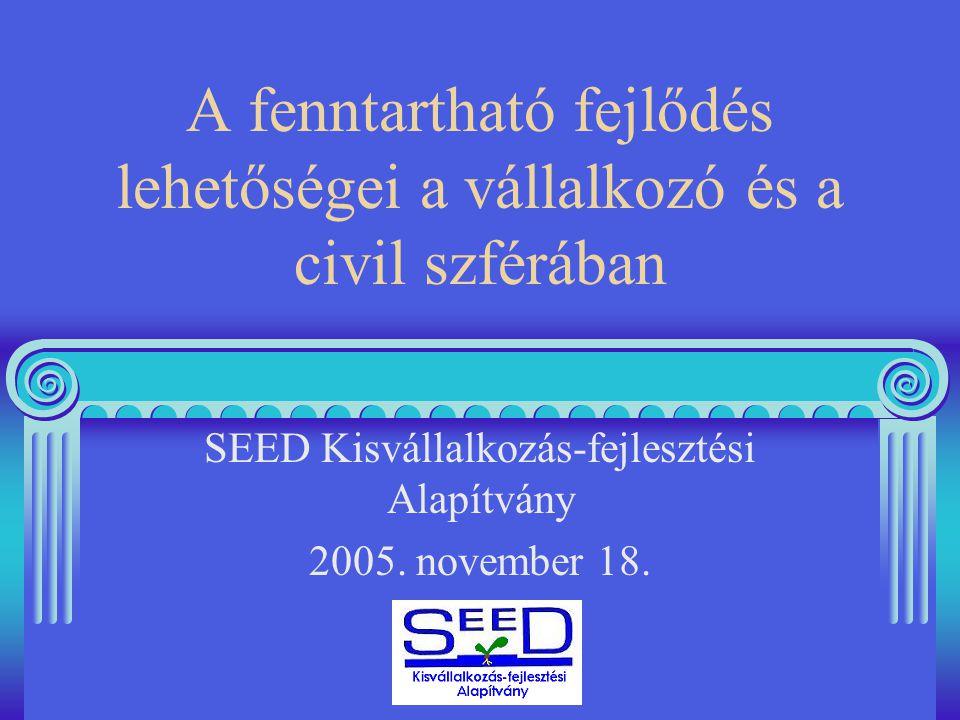 A fenntartható fejlődés lehetőségei a vállalkozó és a civil szférában SEED Kisvállalkozás-fejlesztési Alapítvány 2005.