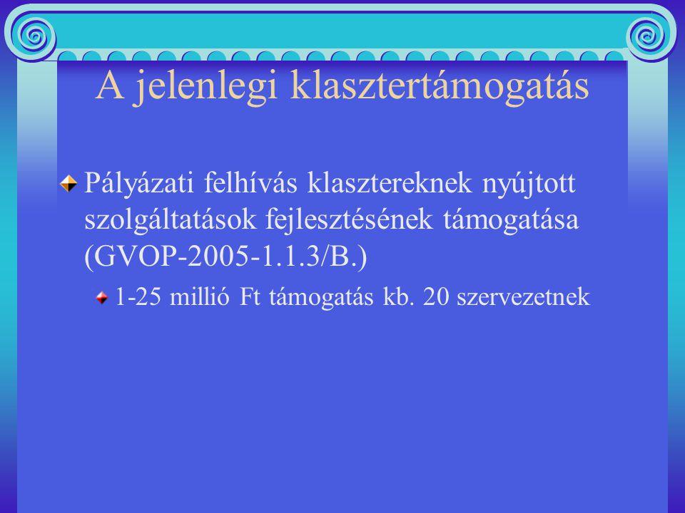 A jelenlegi klasztertámogatás Pályázati felhívás klasztereknek nyújtott szolgáltatások fejlesztésének támogatása (GVOP-2005-1.1.3/B.) 1-25 millió Ft támogatás kb.