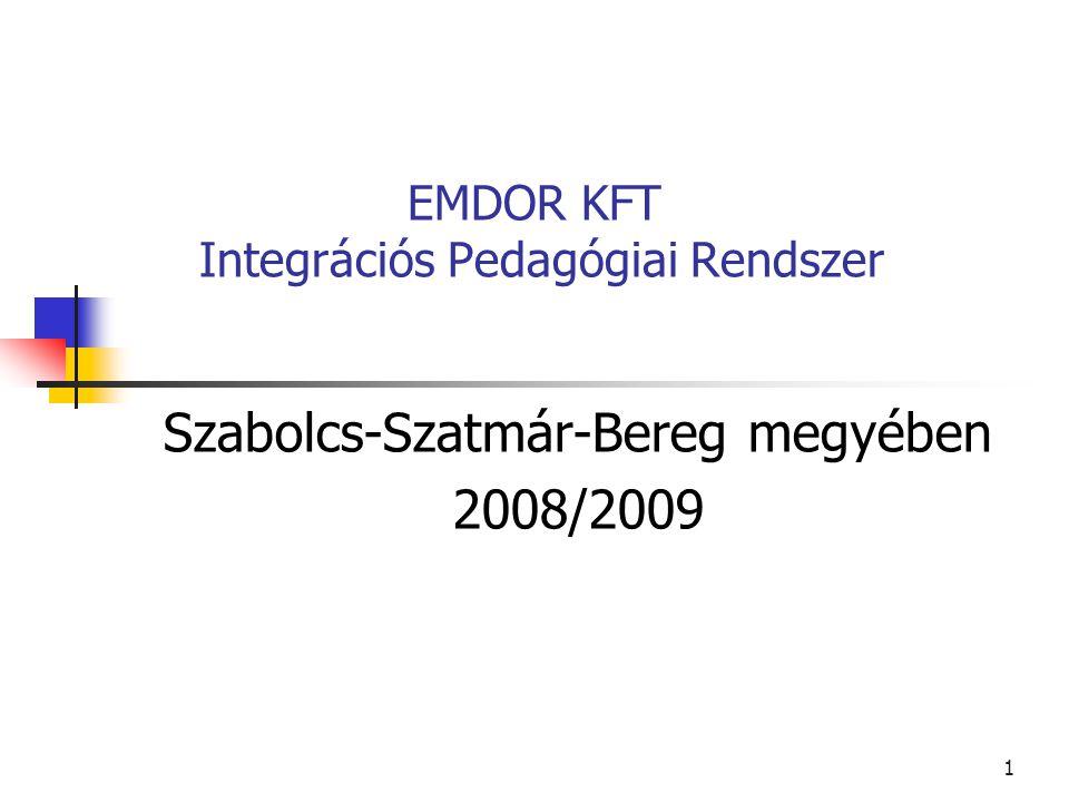 1 EMDOR KFT Integrációs Pedagógiai Rendszer Szabolcs-Szatmár-Bereg megyében 2008/2009