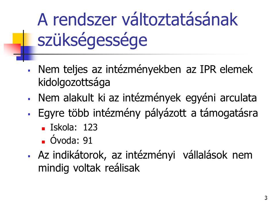 3 A rendszer változtatásának szükségessége  Nem teljes az intézményekben az IPR elemek kidolgozottsága  Nem alakult ki az intézmények egyéni arculata  Egyre több intézmény pályázott a támogatásra  Iskola:123  Óvoda: 91  Az indikátorok, az intézményi vállalások nem mindig voltak reálisak