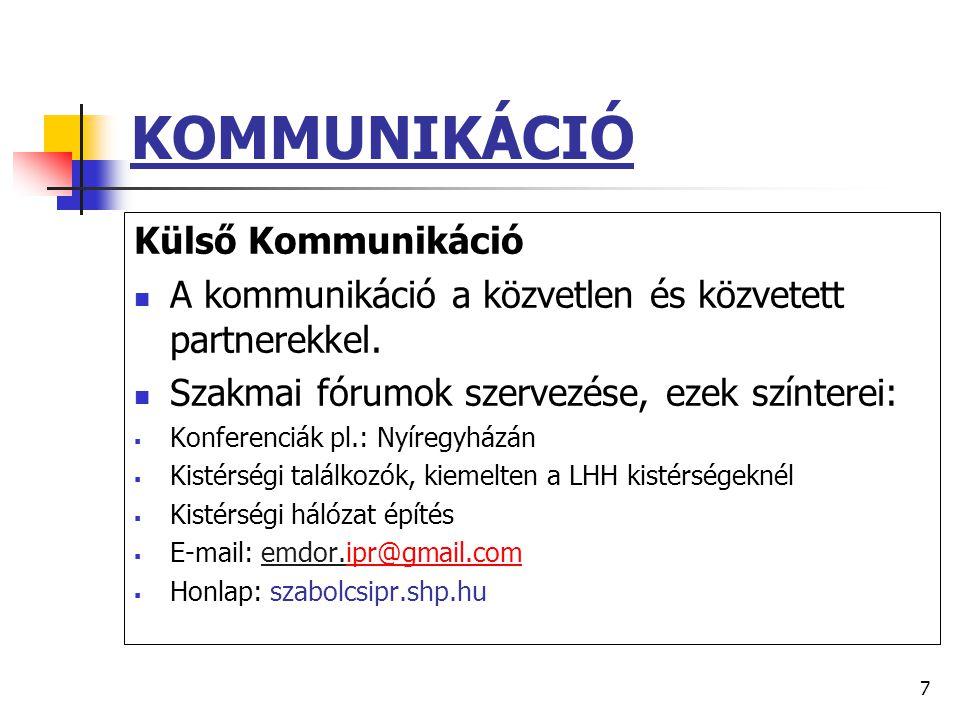 7 KOMMUNIKÁCIÓ Külső Kommunikáció  A kommunikáció a közvetlen és közvetett partnerekkel.