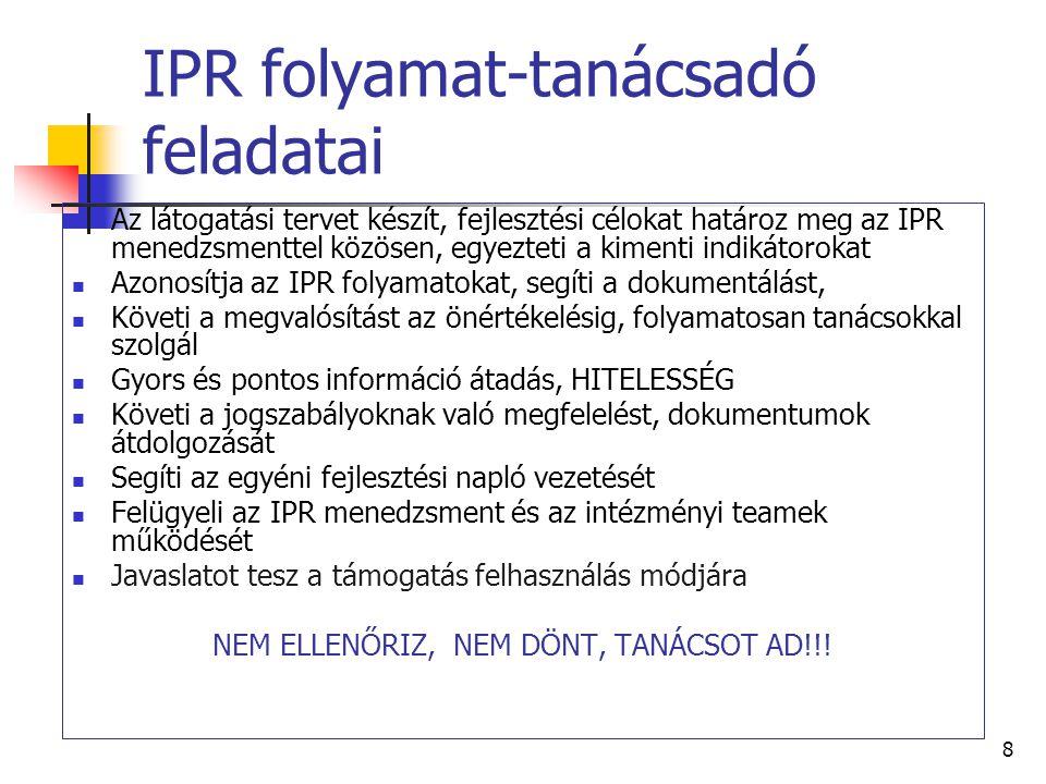 8 IPR folyamat-tanácsadó feladatai  Az látogatási tervet készít, fejlesztési célokat határoz meg az IPR menedzsmenttel közösen, egyezteti a kimenti indikátorokat  Azonosítja az IPR folyamatokat, segíti a dokumentálást,  Követi a megvalósítást az önértékelésig, folyamatosan tanácsokkal szolgál  Gyors és pontos információ átadás, HITELESSÉG  Követi a jogszabályoknak való megfelelést, dokumentumok átdolgozását  Segíti az egyéni fejlesztési napló vezetését  Felügyeli az IPR menedzsment és az intézményi teamek működését  Javaslatot tesz a támogatás felhasználás módjára NEM ELLENŐRIZ, NEM DÖNT, TANÁCSOT AD!!!
