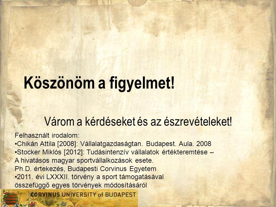Köszönöm a figyelmet! Várom a kérdéseket és az észrevételeket! Felhasznált irodalom: •Chikán Attila [2008]: Vállalatgazdaságtan. Budapest. Aula. 2008