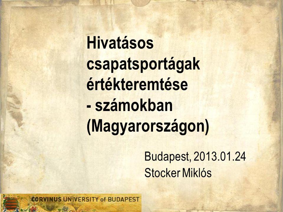 Hivatásos csapatsportágak értékteremtése - számokban (Magyarországon) Budapest, 2013.01.24 Stocker Miklós