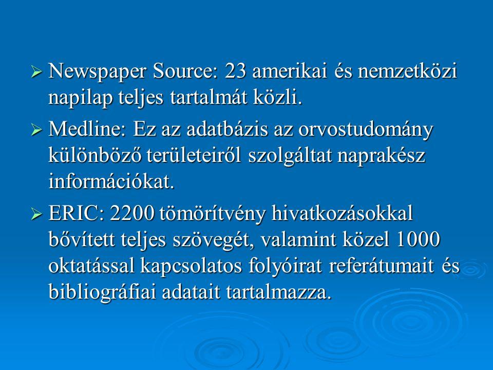  Newspaper Source: 23 amerikai és nemzetközi napilap teljes tartalmát közli.  Medline: Ez az adatbázis az orvostudomány különböző területeiről szolg
