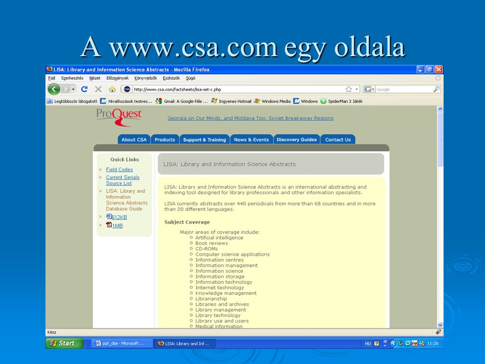 A www.csa.com egy oldala