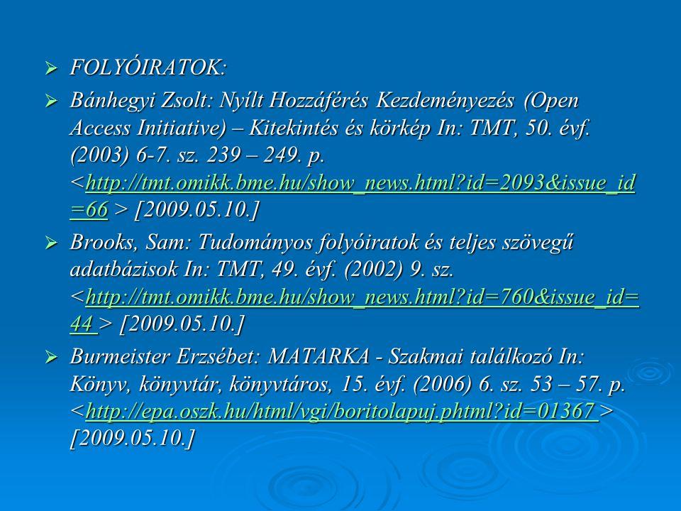  FOLYÓIRATOK:  Bánhegyi Zsolt: Nyílt Hozzáférés Kezdeményezés (Open Access Initiative) – Kitekintés és körkép In: TMT, 50. évf. (2003) 6-7. sz. 239