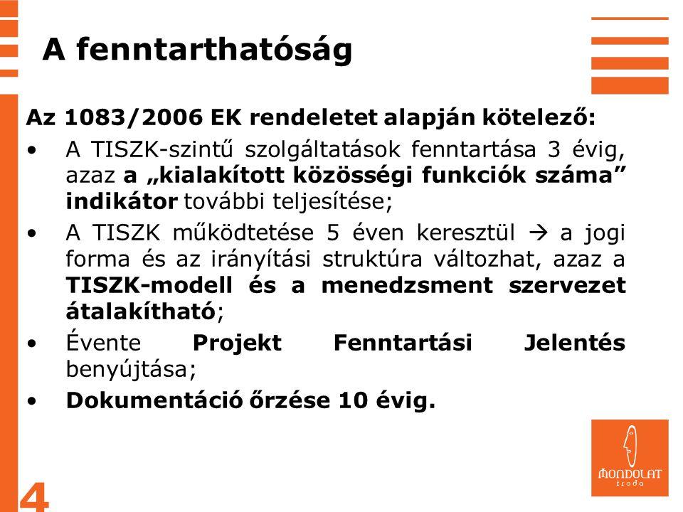 """A fenntarthatóság Az 1083/2006 EK rendeletet alapján kötelező: •A TISZK-szintű szolgáltatások fenntartása 3 évig, azaz a """"kialakított közösségi funkci"""