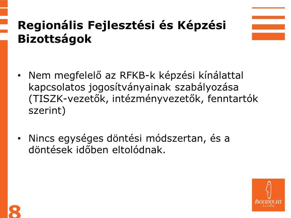 Regionális Fejlesztési és Képzési Bizottságok • Nem megfelelő az RFKB-k képzési kínálattal kapcsolatos jogosítványainak szabályozása (TISZK-vezetők, i
