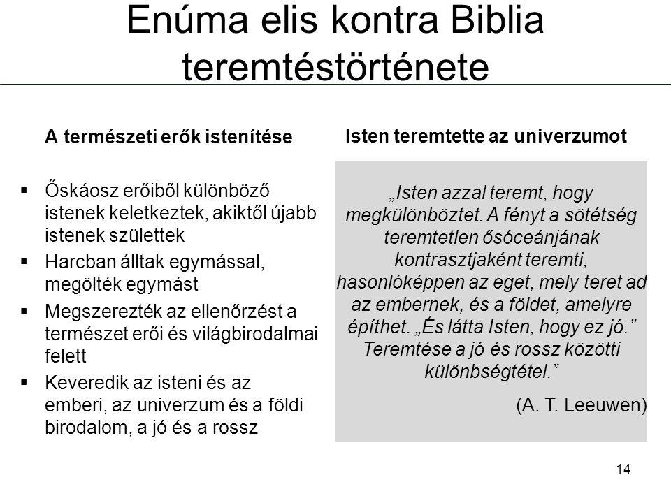 """Enúma elis kontra Biblia teremtéstörténete """"Isten azzal teremt, hogy megkülönböztet. A fényt a sötétség teremtetlen ősóceánjának kontrasztjaként terem"""