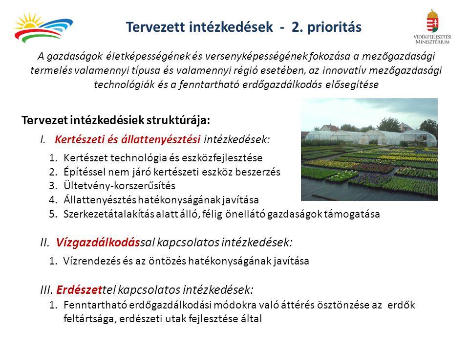 Tervezett intézkedések - 2. prioritás Tervezet intézkedésiek struktúrája: I. Kertészeti és állattenyésztési intézkedések: 1.Kertészet technológia és e