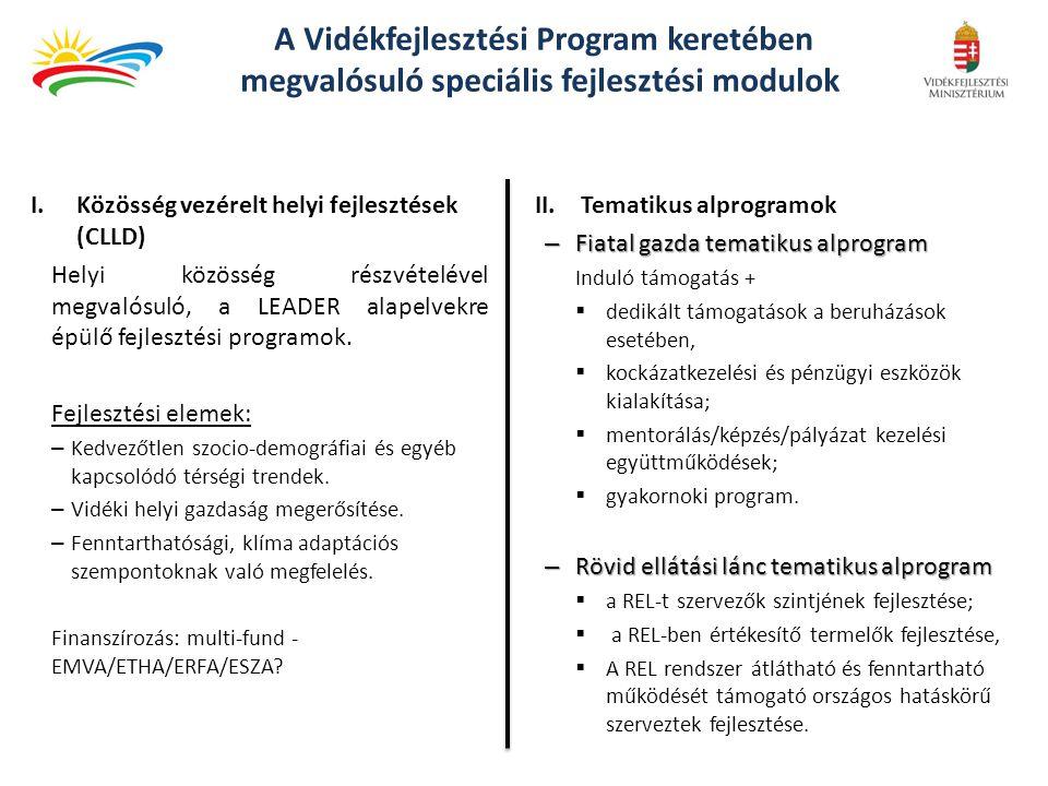 A Vidékfejlesztési Program keretében megvalósuló speciális fejlesztési modulok I.Közösség vezérelt helyi fejlesztések (CLLD) Helyi közösség részvételé