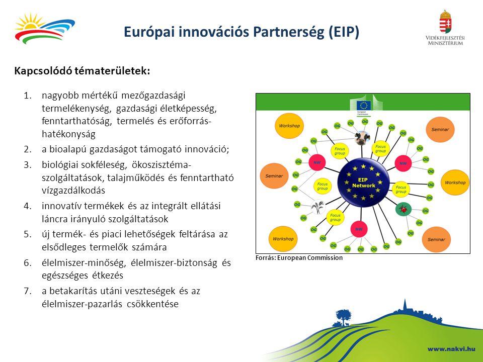 Európai innovációs Partnerség (EIP) Kapcsolódó tématerületek: 1.nagyobb mértékű mezőgazdasági termelékenység, gazdasági életképesség, fenntarthatóság,