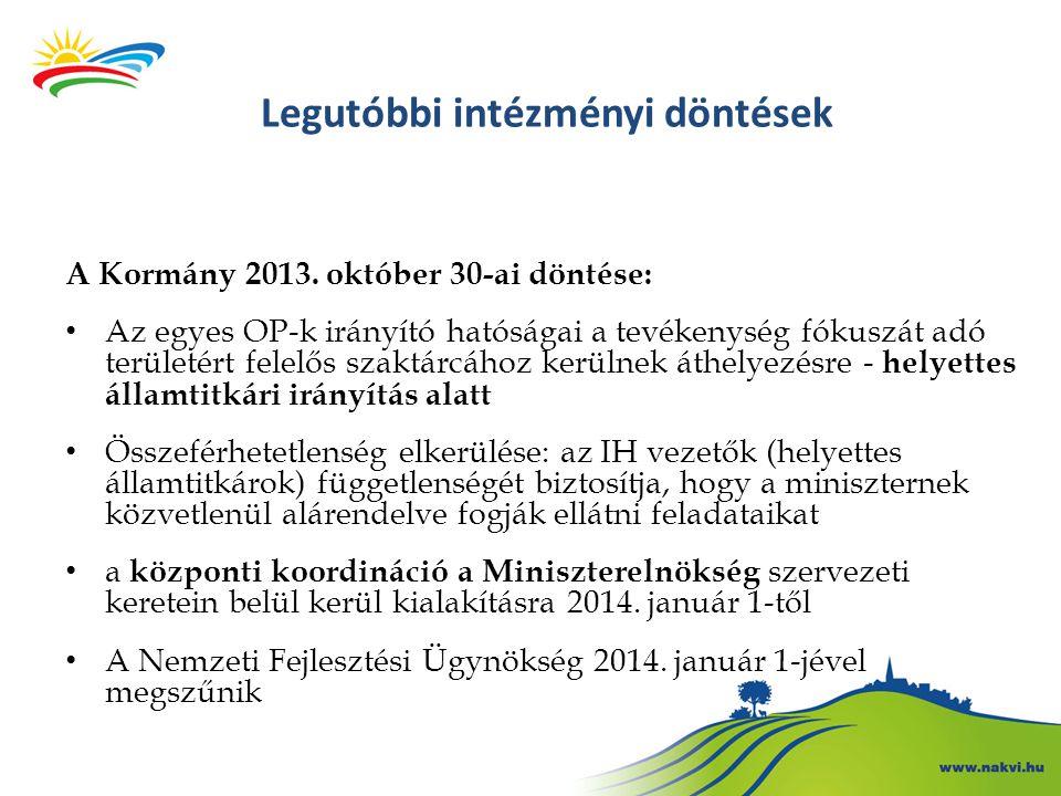 Legutóbbi intézményi döntések A Kormány 2013. október 30-ai döntése: • Az egyes OP-k irányító hatóságai a tevékenység fókuszát adó területért felelős