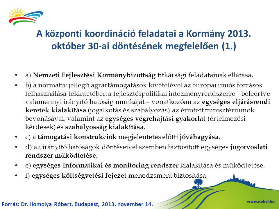 • a) Nemzeti Fejlesztési Kormánybizottság titkársági feladatainak ellátása, • b) a normatív jellegű agrártámogatások kivételével az európai uniós forr