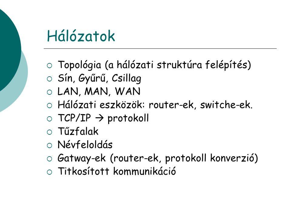 Hálózatok  Topológia (a hálózati struktúra felépítés)  Sín, Gyűrű, Csillag  LAN, MAN, WAN  Hálózati eszközök: router-ek, switche-ek.
