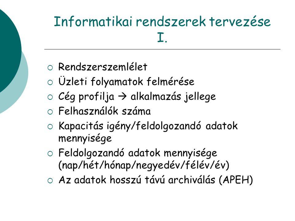 Informatikai rendszerek tervezése I.