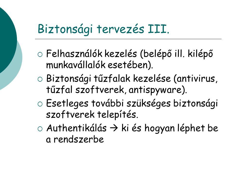 Biztonsági tervezés III. Felhasználók kezelés (belépő ill.