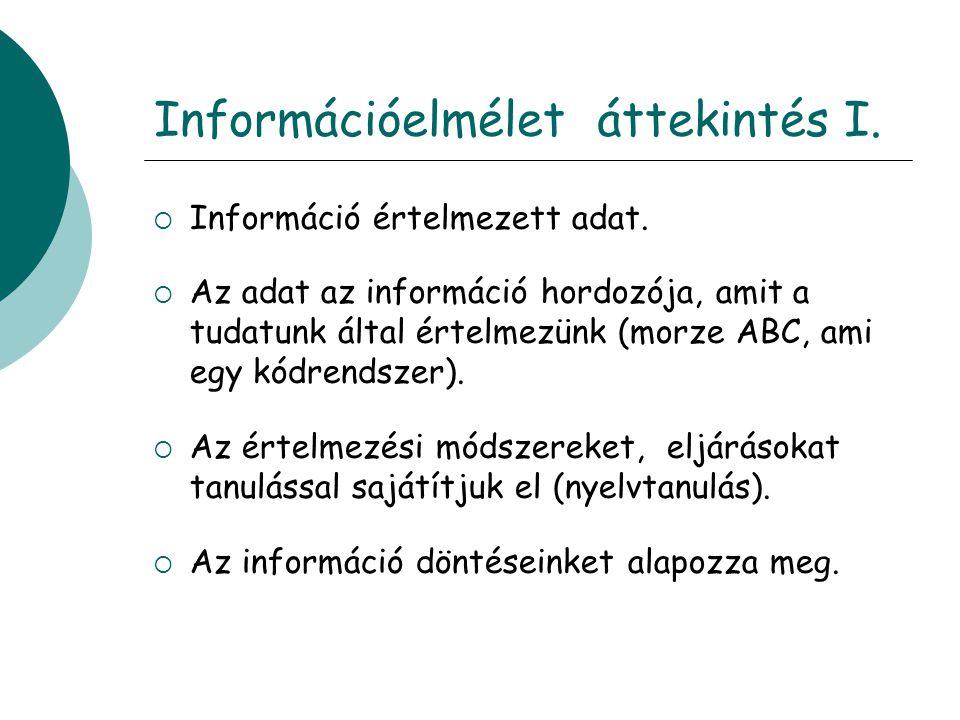Információelmélet áttekintés I.  Információ értelmezett adat.  Az adat az információ hordozója, amit a tudatunk által értelmezünk (morze ABC, ami eg