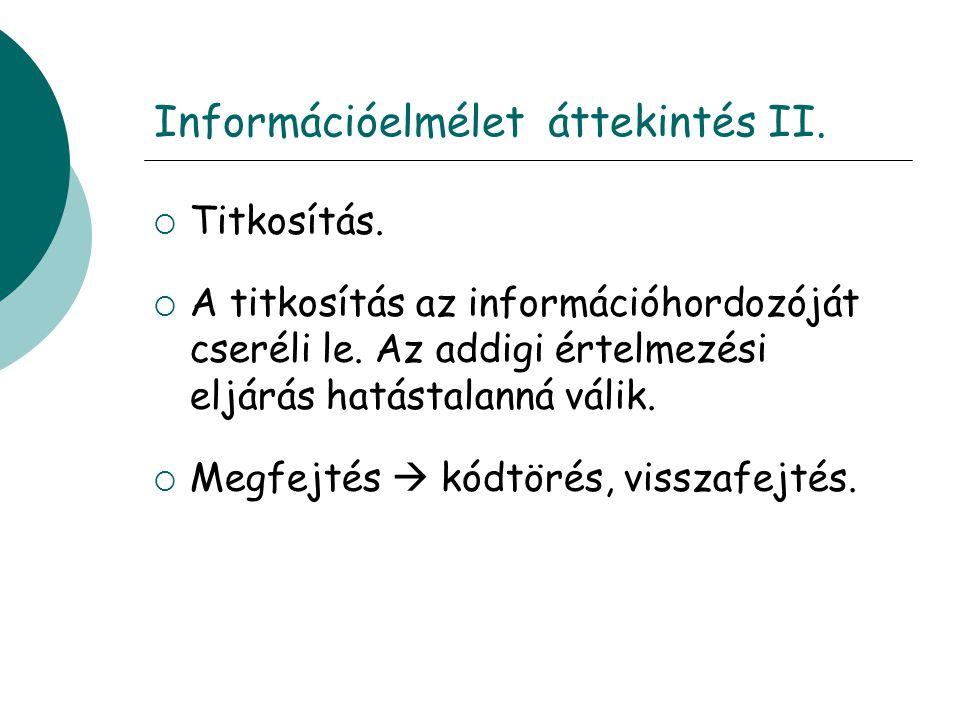 Információelmélet áttekintés II. Titkosítás.  A titkosítás az információhordozóját cseréli le.
