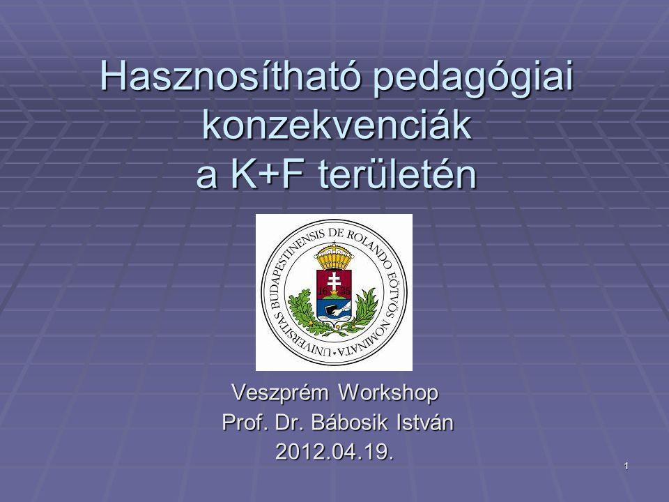1 Hasznosítható pedagógiai konzekvenciák a K+F területén Veszprém Workshop Prof. Dr. Bábosik István Prof. Dr. Bábosik István2012.04.19.
