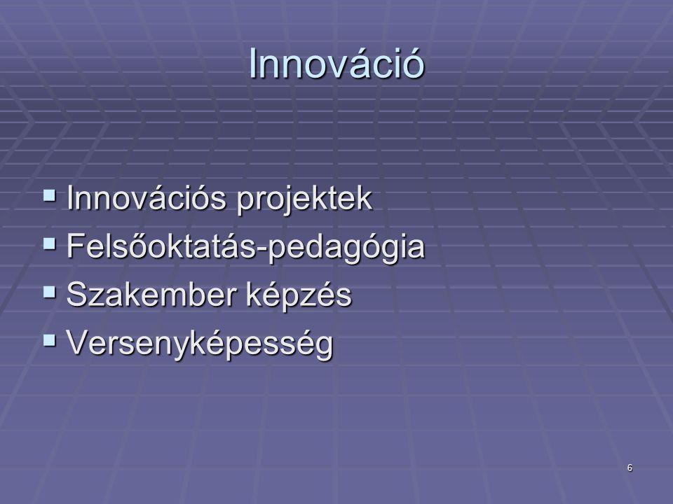 6 Innováció  Innovációs projektek  Felsőoktatás-pedagógia  Szakember képzés  Versenyképesség