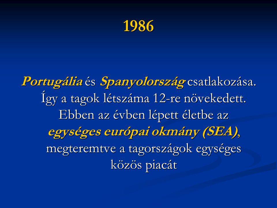1986 Portugália és Spanyolország csatlakozása. Így a tagok létszáma 12-re növekedett.