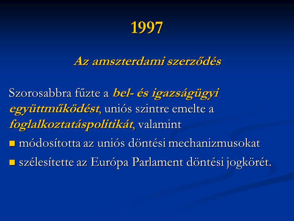 1997 Az amszterdami szerződés Szorosabbra fűzte a bel- és igazságügyi együttműködést, uniós szintre emelte a foglalkoztatáspolitikát, valamint  módosította az uniós döntési mechanizmusokat  szélesítette az Európa Parlament döntési jogkörét.
