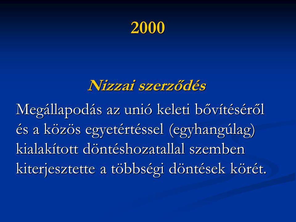 2000 Nizzai szerződés Megállapodás az unió keleti bővítéséről és a közös egyetértéssel (egyhangúlag) kialakított döntéshozatallal szemben kiterjesztette a többségi döntések körét.