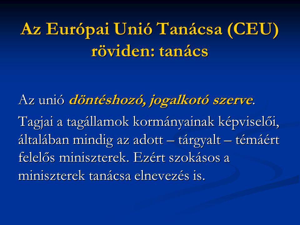 Az Európai Unió Tanácsa (CEU) röviden: tanács Az unió döntéshozó, jogalkotó szerve.