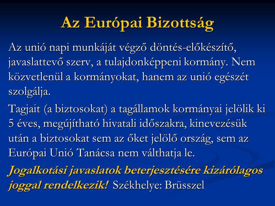 Az Európai Bizottság Az unió napi munkáját végző döntés-előkészítő, javaslattevő szerv, a tulajdonképpeni kormány.