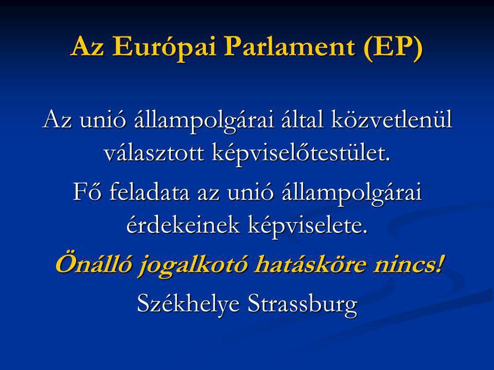 Az Európai Parlament (EP) Az unió állampolgárai által közvetlenül választott képviselőtestület.