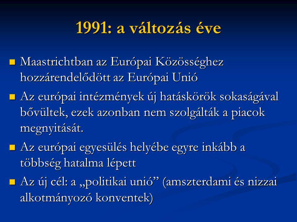 1991: a változás éve  Maastrichtban az Európai Közösséghez hozzárendelődött az Európai Unió  Az európai intézmények új hatáskörök sokaságával bővültek, ezek azonban nem szolgálták a piacok megnyitását.