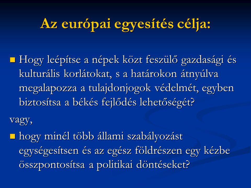 Az európai egyesítés célja:  Hogy leépítse a népek közt feszülő gazdasági és kulturális korlátokat, s a határokon átnyúlva megalapozza a tulajdonjogok védelmét, egyben biztosítsa a békés fejlődés lehetőségét.