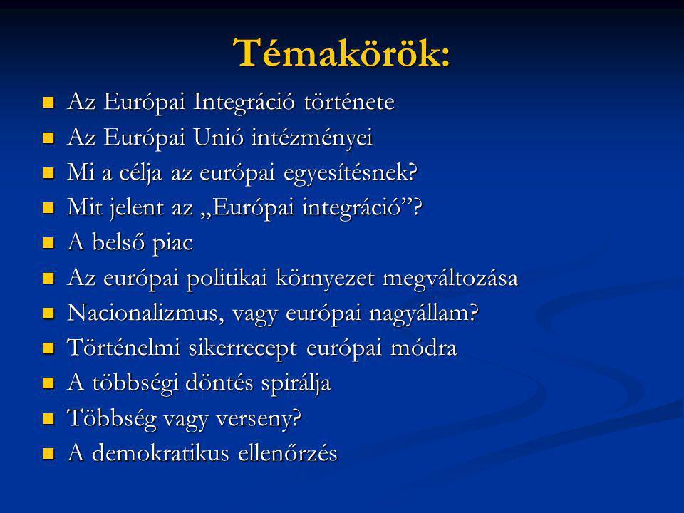Témakörök:  Az Európai Integráció története  Az Európai Unió intézményei  Mi a célja az európai egyesítésnek.