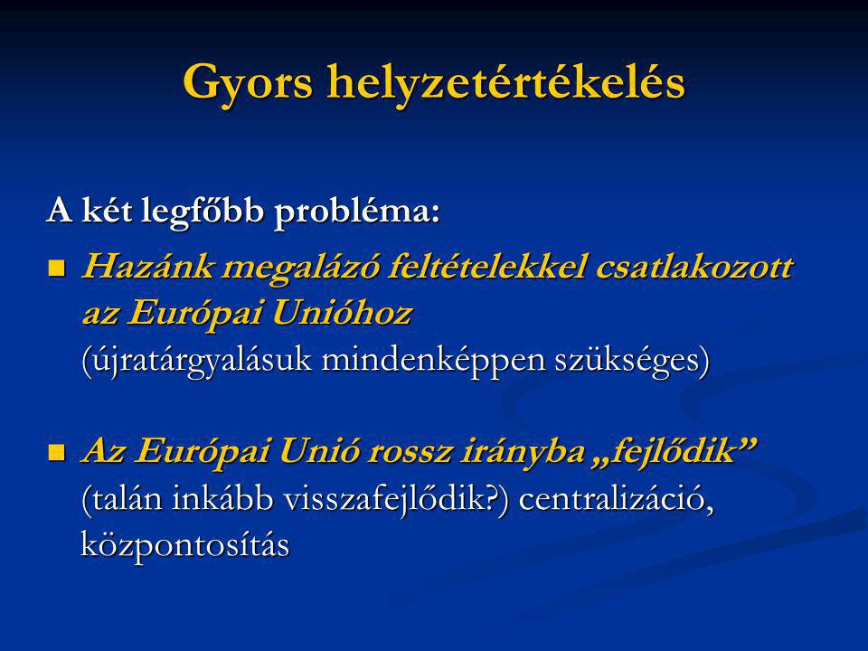 """Gyors helyzetértékelés A két legfőbb probléma:  Hazánk megalázó feltételekkel csatlakozott az Európai Unióhoz (újratárgyalásuk mindenképpen szükséges)  Az Európai Unió rossz irányba """"fejlődik (talán inkább visszafejlődik?) centralizáció, központosítás"""