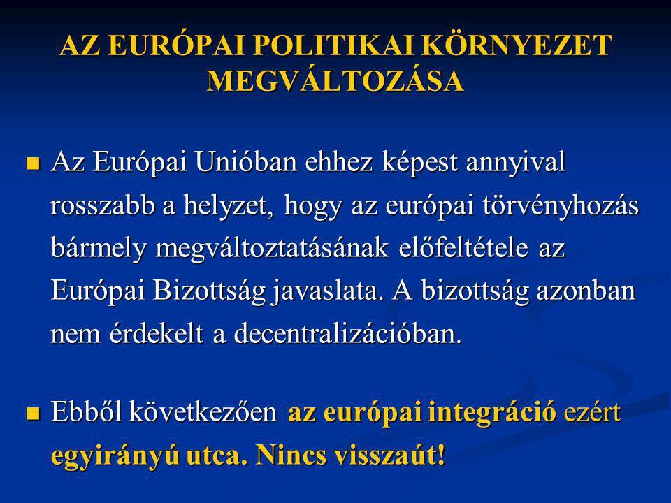 AZ EURÓPAI POLITIKAI KÖRNYEZET MEGVÁLTOZÁSA  Az Európai Unióban ehhez képest annyival rosszabb a helyzet, hogy az európai törvényhozás bármely megváltoztatásának előfeltétele az Európai Bizottság javaslata.