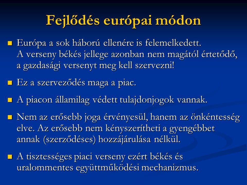 Fejlődés európai módon  Európa a sok háború ellenére is felemelkedett.