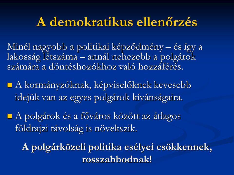A demokratikus ellenőrzés Minél nagyobb a politikai képződmény – és így a lakosság létszáma – annál nehezebb a polgárok számára a döntéshozókhoz való hozzáférés.