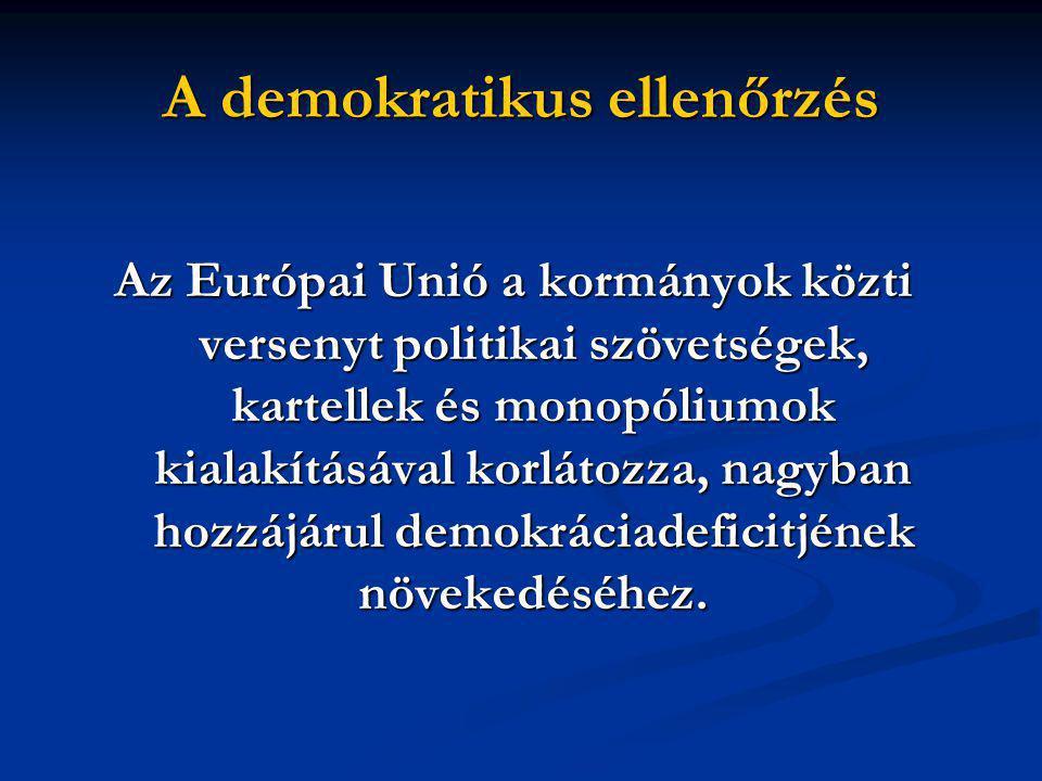 A demokratikus ellenőrzés Az Európai Unió a kormányok közti versenyt politikai szövetségek, kartellek és monopóliumok kialakításával korlátozza, nagyban hozzájárul demokráciadeficitjének növekedéséhez.