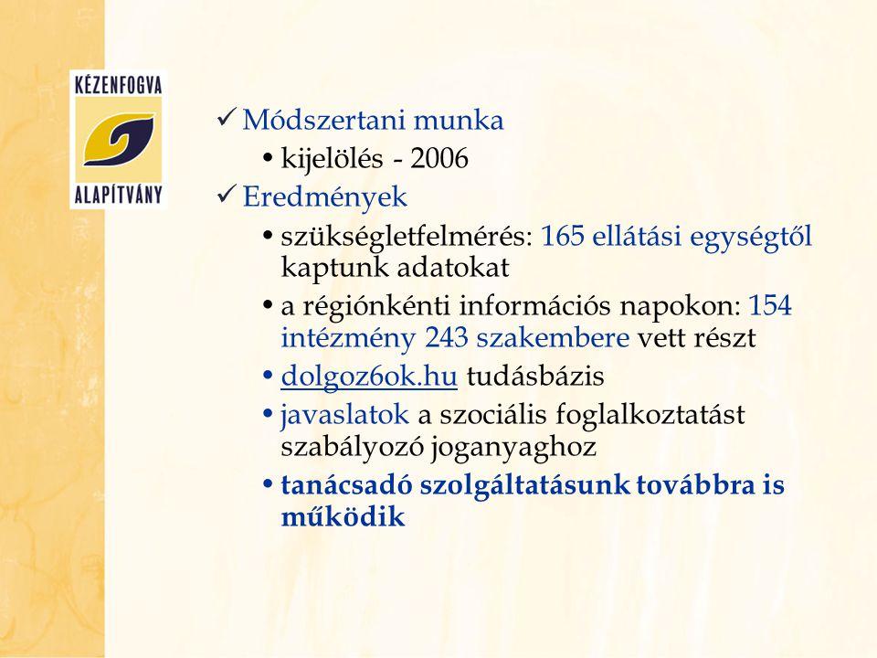  Módszertani munka •kijelölés - 2006  Eredmények •szükségletfelmérés: 165 ellátási egységtől kaptunk adatokat •a régiónkénti információs napokon: 15