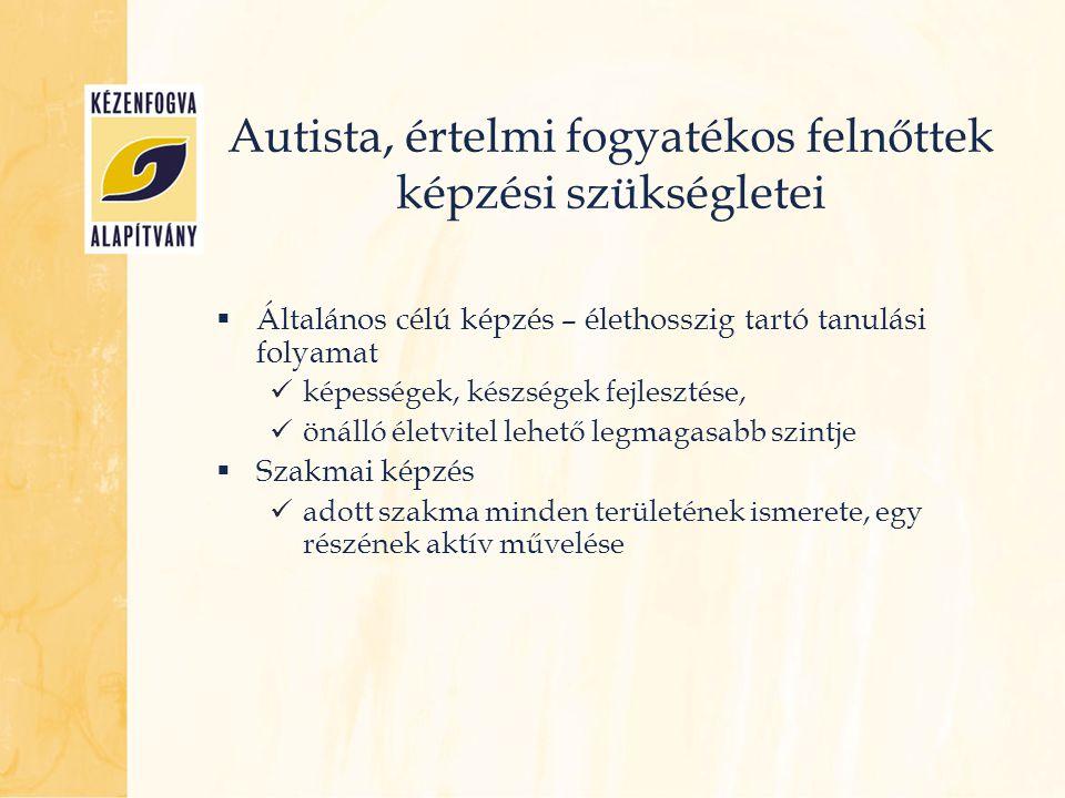 Autista, értelmi fogyatékos felnőttek képzési szükségletei  Általános célú képzés – élethosszig tartó tanulási folyamat  képességek, készségek fejle