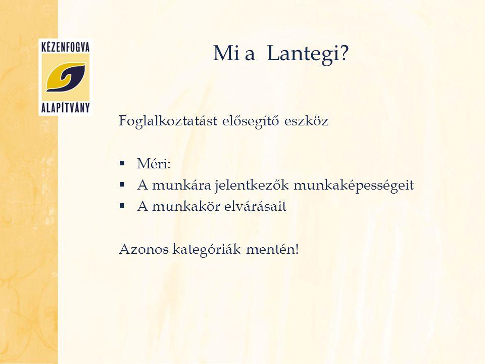 Mi a Lantegi? Foglalkoztatást elősegítő eszköz  Méri:  A munkára jelentkezők munkaképességeit  A munkakör elvárásait Azonos kategóriák mentén!